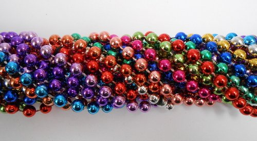 33 inch 7mm Round Metallic 12 Color Mardi Gras Beads - 6 Dozen (72 necklaces) -