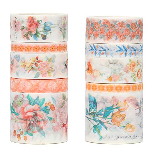 Molshine Floral Washi Masking Tape Set of 10, Spring Flower Decorative Sticky Paper Tapes for DIY Craft, Gift Wrapping, Bullet Journal, Planner, Scrapbooking (H)
