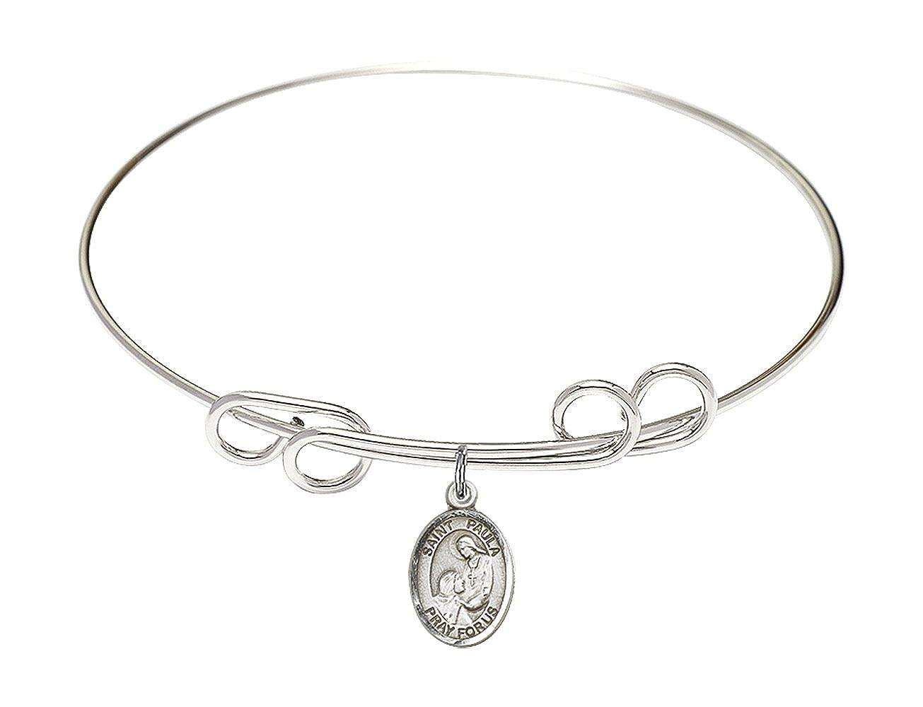 DiamondJewelryNY Double Loop Bangle Bracelet with a St Paula Charm.