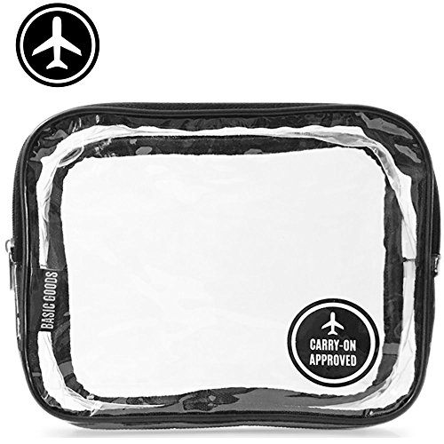 Clear Toiletry Bag | TSA Carry-On Approved | Quart Sized | Cosmetic Makeup Pouch For Travel | Compliant With 3-1-1 Rule | Durable PVC Plastic | Heavy Duty Zipper