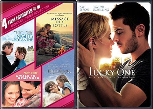 Nicholas Sparks Modern Romance Movies The Notebook / A Walk to Remember / The Lucky One / Message in a Bottle / Nights in Rodanthe 5-DVD Bundle
