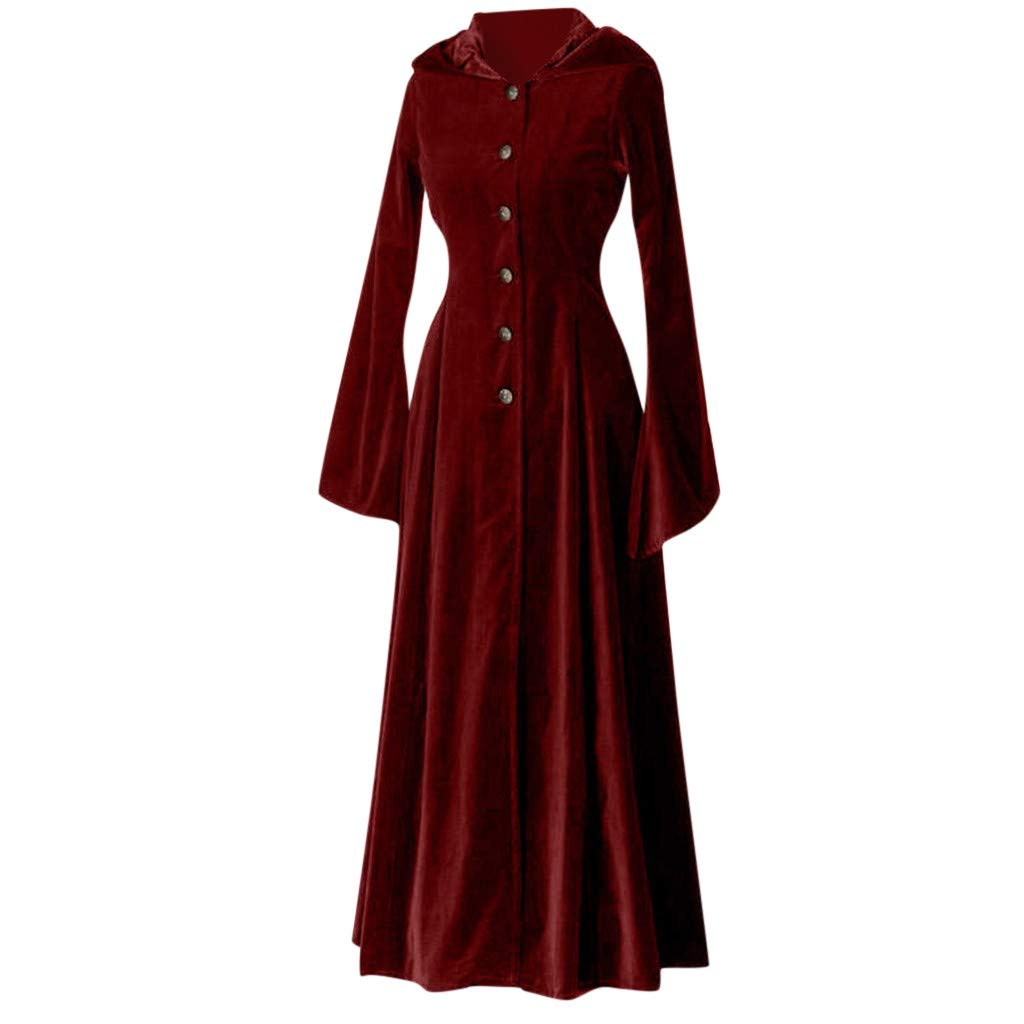 TozuoyouZ Punk Rave Women Black Gothic Dress Button Long Sleeve Full Length Hoodie Dress Witch Dress Cosplay Costume (Red,2XL) by TozuoyouZ