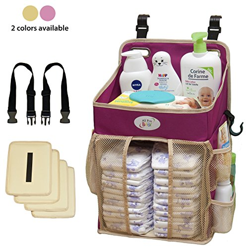 Baby Diaper Caddy and Nursery Storage Organizer - Hard Plastic Body Prevent from Sagging with Heavy Items - Hooks for Hanging on Crib - Small Portable Size for Travel - Neutral Stacker for Boy or Girl -