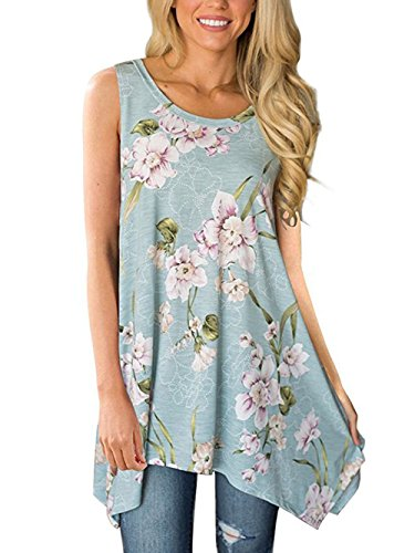 Paewin Womens Summer Sleeveless Floral Print Asymmetrical Tunic Tops Sky Blue Small