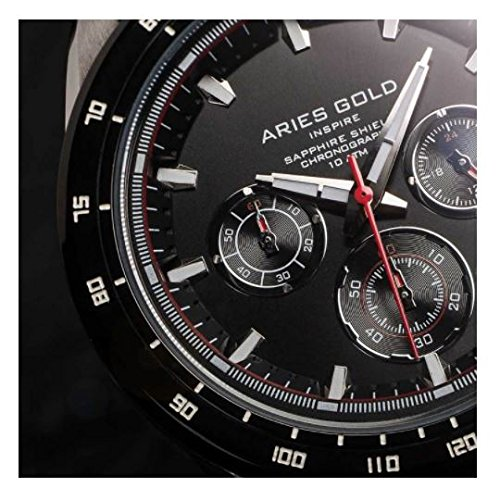 Amazon.com: Aries Gold│RALLY DRIFTER│G 7001 SBK-BK│Mens Wrist Watch│3 Eye Date Day Tachymeter│Stainless Steel Strap - Black: Watches