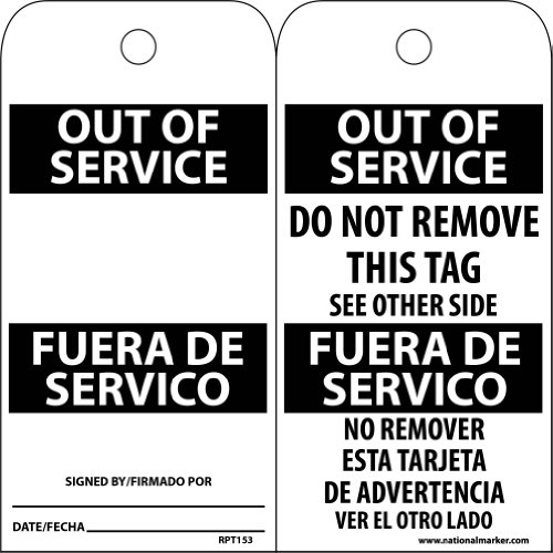 NMC RPT153 Bilingual Accident Prevention Tag, ''OUT OF SERVICE'', 3'' Width x 6'' Height, Unrippable Vinyl, Black/Red on White (Pack of 25) by NMC