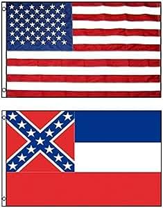 3'x5' MISSISSIPPI Polyester Flag & AMERICAN US Embroidered Nylon Flag