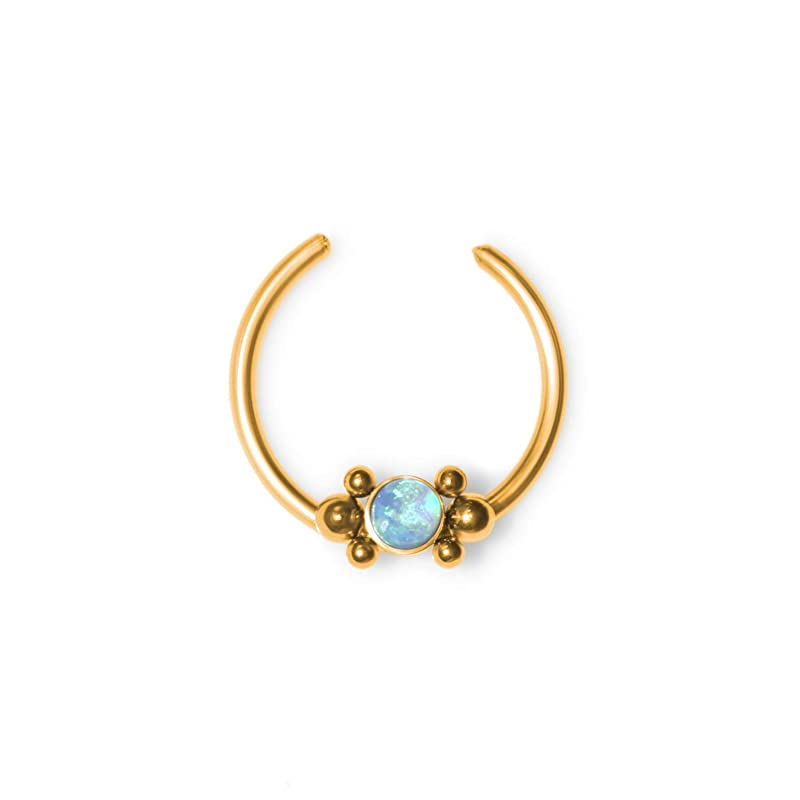 Wire Wrapped Opaline Fake Septum Ring Set All 316L Surgical Steel Fake Septum Hanger with 4 Interchangable Opalite Set Threaded Tops