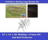 Excursions Journey To Health Baseball Batting Cage #18 Nylon 40Ft Net with Frame Kit and Rubber Net Protector