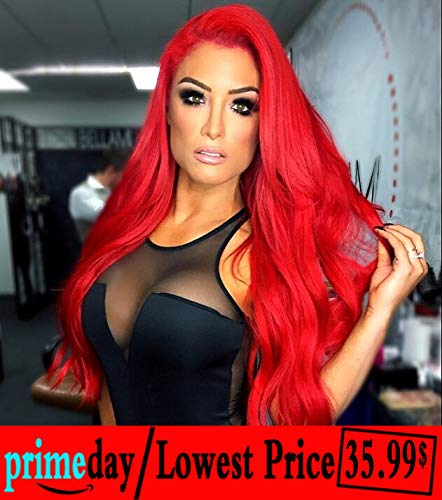 Goodly Red Lace Front Wigs for Women Fashion Glueless Long Wavy Wigs Lace Front Natural Looking Synthetic Heat Resist Quality Fiber Red -