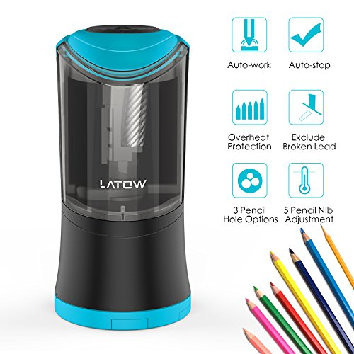 Electric Pencil Sharpener with Durable Helical Blade to Fast Sharpen, LATOW USB Rechargeable Auto Stop Sharpener for 6-12mm Diameter Pencils, Suitable for School Office Home (Battery - Sharpener Pencil Hole Double