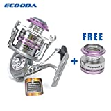 Ecooda Royal Sea Spinning Fishing Reels Metal Body Two Aluminum Spools Carbon Fiber Drag Great Open Face Reel 1500/2000/3000
