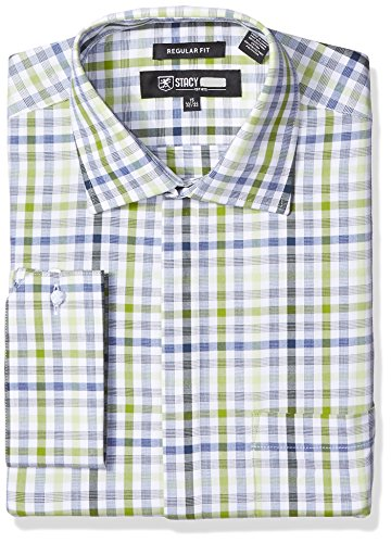 STACY ADAMS Men's Grid Check Classic Fit Dress Shirt, Green, 17.5