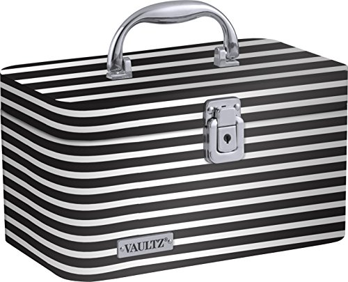 (Vaultz Locking Train Case for Cosmetics Storage, Black and White Stripe (VZ03754))