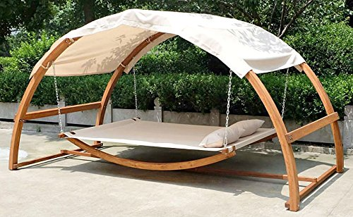 2 Person Swing Hammock Bed And Canopy Roof Double Arched