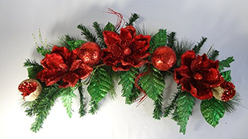 36'' Red Magnolia Swag by V-Max Floral Decor