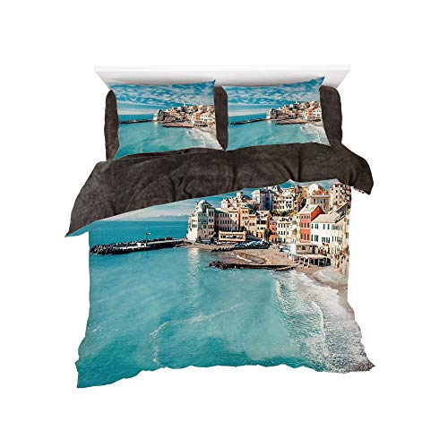 Flannel Duvet Cover Set 4-Piece Suit Warm Bedding Sets Quilt Cover for bed width 5ft Pattern by,Farm House Decor,Panorama of Old Italian Fish Village Beach Old Province Coastal Charm Image,Turquoise ()