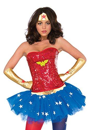 [Rubie's Women's Dc Comics Wonder Woman Deluxe Corset, Multi, Small/Medium] (Wonder Woman Red Corset)