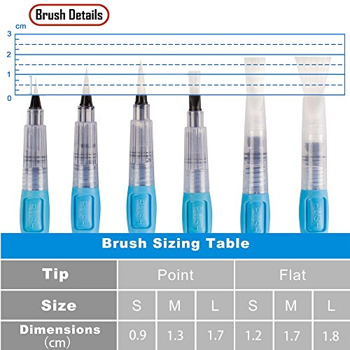 Aqua Pens with Assorted... A+Selected 6 Pieces Water Reservoir Brush Pen Set