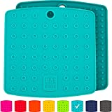 """Premium Silicone Trivet Mats / Hot Pads, Pot Holders, Spoon Rest, Jar Opener & Coasters - Our 5 in 1 Kitchen Tool is Heat Resistant to 442 °F, Thick & Flexible (7"""" x 7"""", Teal, Set of 2)"""