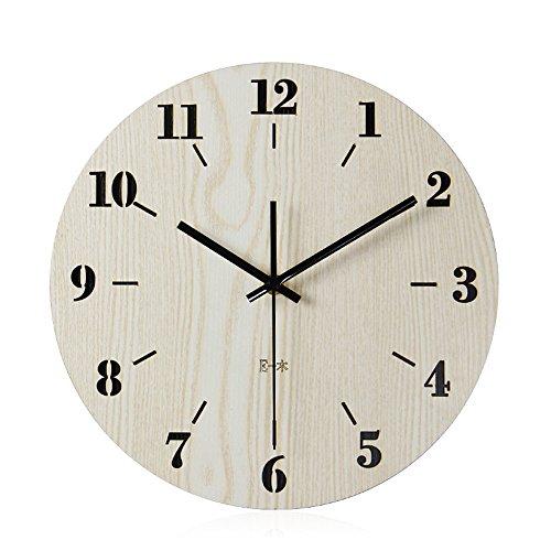Imoerjia Wall Clocks Wooden Clocks Living Room Ideas Muted Quartz Clock,30Cm by Imoerjia