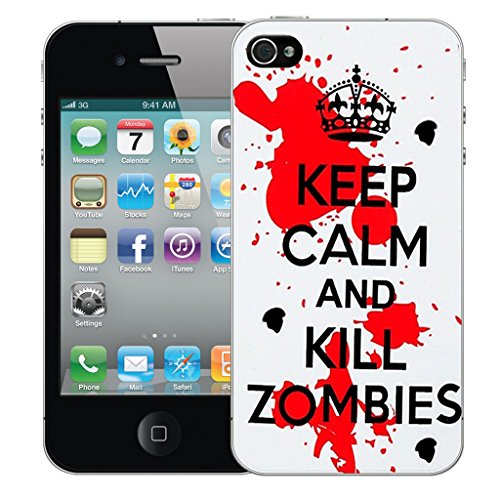 Mobile Case Mate iPhone 4 Silicone Coque couverture case cover Pare-chocs + STYLET - Red Kill Zombies pattern (SILICON)