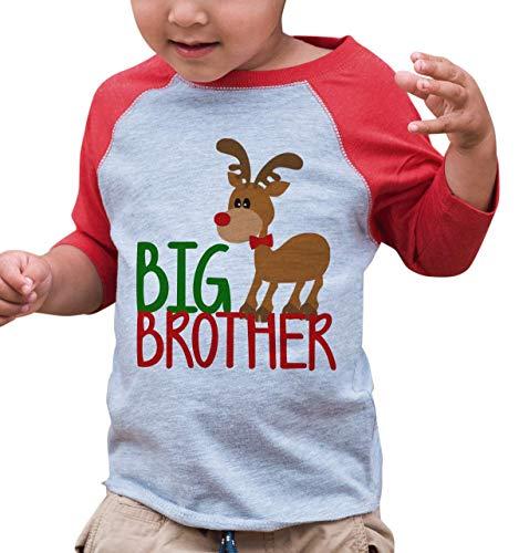 7 ate 9 Apparel Kids Big Brother Christmas Raglan Shirt Red 2T