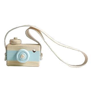 Vosarea Mini Macchina Fotografica in Legno Giocattolo Carino Camera per Bambini Appeso Arredamento Foto Che prendono Puntelli Compleanno Regalo di Natale per Bambini Bambini (Blu)