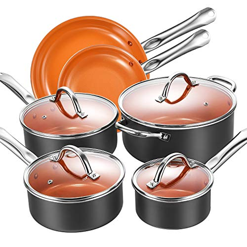 Cookware Set, Aicook Non Stick Cookware Set 10pcs, Induction Cookware, Copper Pan, Dishwasher and Oven Safe Cookware Set