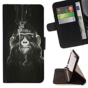 DEVIL CASE - FOR Apple Iphone 5 / 5S - Monkey Hairy Art Smoke Sunglasses Ape Painting - Style PU Leather Case Wallet Flip Stand Flap Closure Cover