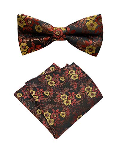 Natural Pink Coral Flower (Mens Dark Brown Silk Bow Tie Pocket Square Set Orange Red Petal Woven Paisley Party Cool Bowties Gifts)