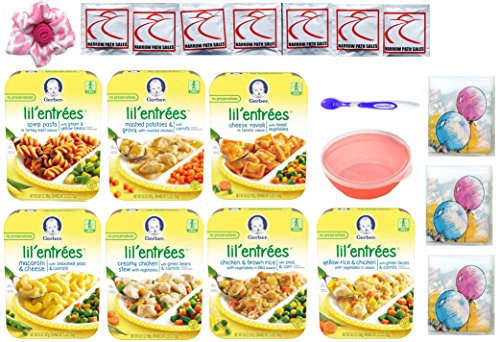 Gerber Graduates Lil Entrees Variety Meal Bundle of 7 flavors 6.6 oz each, Bowl, Spoon included. Gift Package Care Package - Entree Macaroni