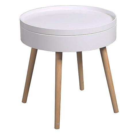 Amazon.com: Mesa de centro pequeña redonda esquinera mesa de ...