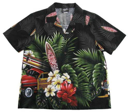 RJC Womens Tropical Surfboard Woodie Camp Shirt in Black - 1X Plus by RJC Women