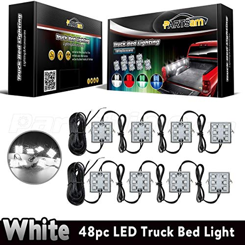Partsam Led Truck Bed Light Strips 8pods 6 5050 Smd White Led Rear Work Box Lighting Kit Waterproof Led Bed Light For Truck Pickup Cargo Trailer Rvs