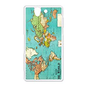 Vintage World Map Take Me Away Hard Protective Plastic Back Case Cover for Sony Xperia Z Perfect as Christmas gift(2)