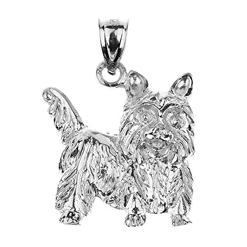 Polished 925 Sterling Silver Yorkshire Terrier Dog Charm Pendant - Gold Terrier Dog Charm