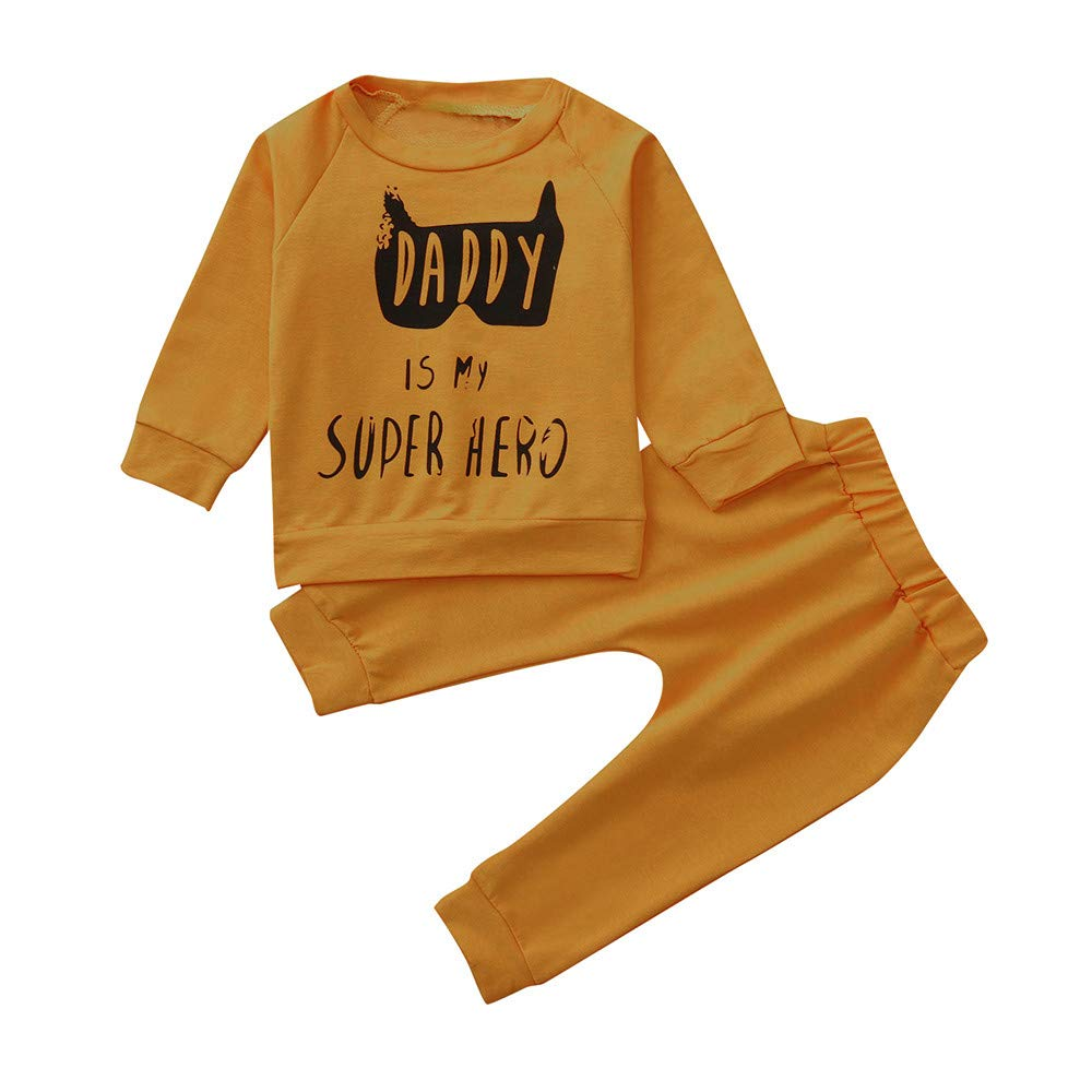 Little Girl Autumn Winter Sets,Jchen(TM) Toddler Baby Boy Girl Letter Cartoon Pullover Sweatshirt Tops+Pants Casual Outfits for 0-3 Y (Age: 6-12 Months, Yellow)