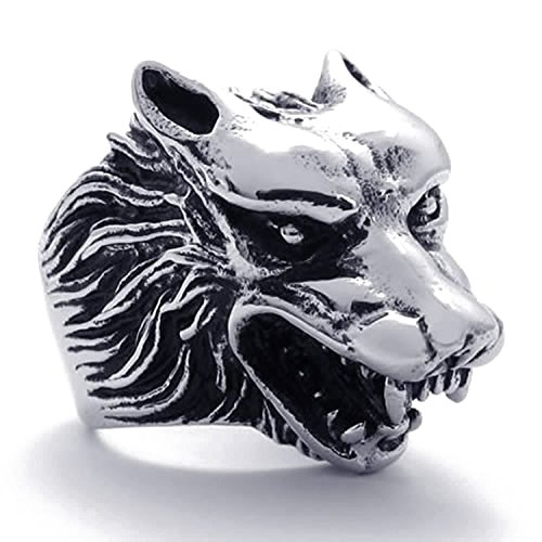 Ring Gothic Head Wolf Size Jewelry Men's 12 Silver Sodial r Black Steel Stainless FwR66tYp