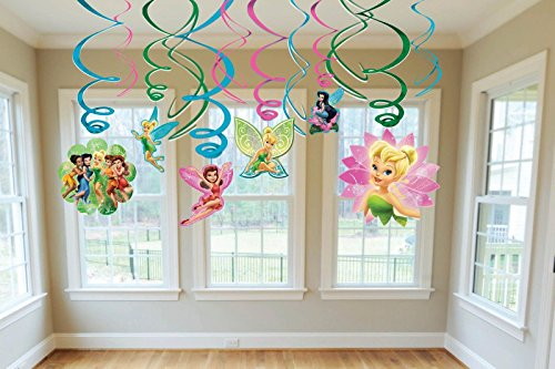 Disney Tinker Bell Dangling Swirl Decorations Birthday Party Supplies Favor Pack -