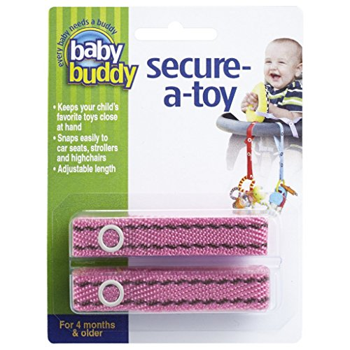 Baby Buddy 2 Piece Secure-A-Toy, Pink/Brown Stitch