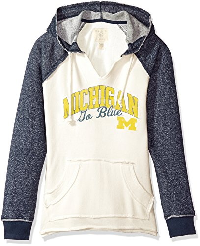 Michigan Wolverines Clothing (NCAA Michigan Wolverines Women's French Terry Hoodie, Bone/Marled Navy,)
