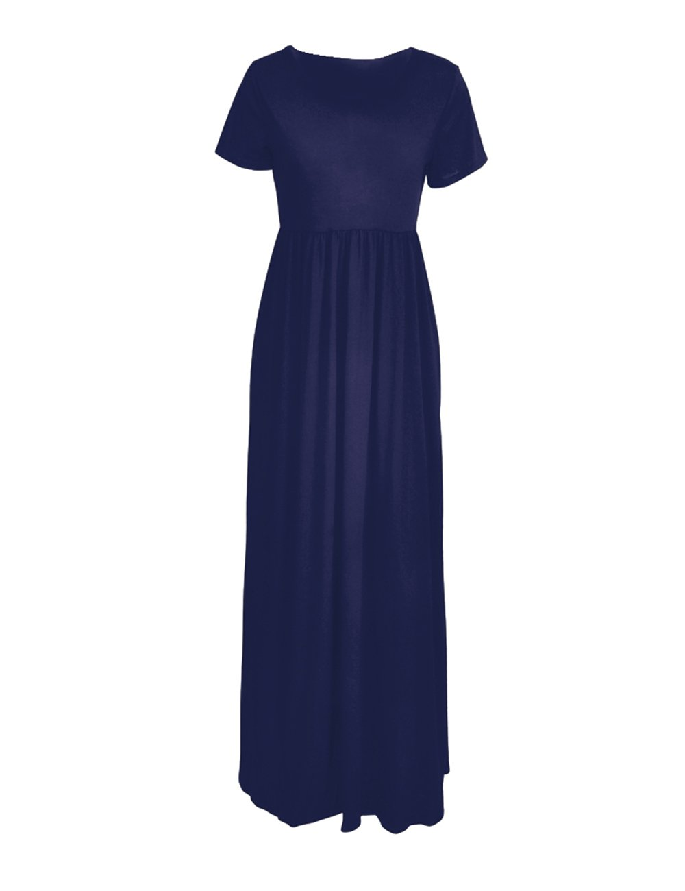 ORQ Women's Short Sleeve Loose Plain Casual Long Maxi Tunic Dress With Pockets by ORQ (Image #5)