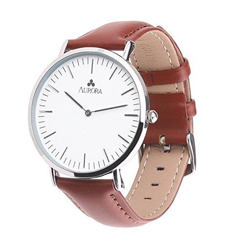 Aurora Watch relojes mujer correa de marrón relojes casual mujeres: Amazon.es: Relojes