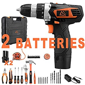 Cordless Drill, 12/20V Cordless Drill Driver 2×1.5Ah Batteries, Fast Charger 1.3A, 36/44/57Pcs Accessories, 18+1 Torque Setting, 2-Variable Speed Max Torque 200/250 In-lbs, 3/8″ Keyless Chuck