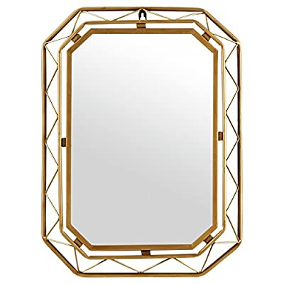 Rivet Modern Metal Lattice-Work Octagonal Hanging Wall Mirror 22.25 Inch Height, Gold Finish - An intricate frame gives this mirror modern sophistication and a touch of glam. With classic gold finish, the double-layered metal frame will add depth and texture to a living room or hallway -- or keep it just for yourself, above a bedroom bureau. Modern sophistication and a touch of glamour Glass, iron frame with gold finish - bathroom-mirrors, bathroom-accessories, bathroom - 51AWe7gsRfL. SS400  -