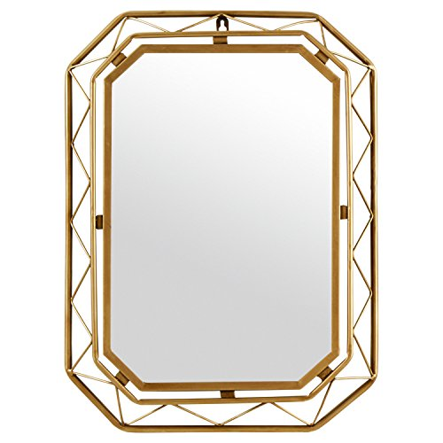 "51AWe7gsRfL - Rivet Modern Metal Lattice-Work Octagonal Mirror, 22.25"" H, Gold Finish"