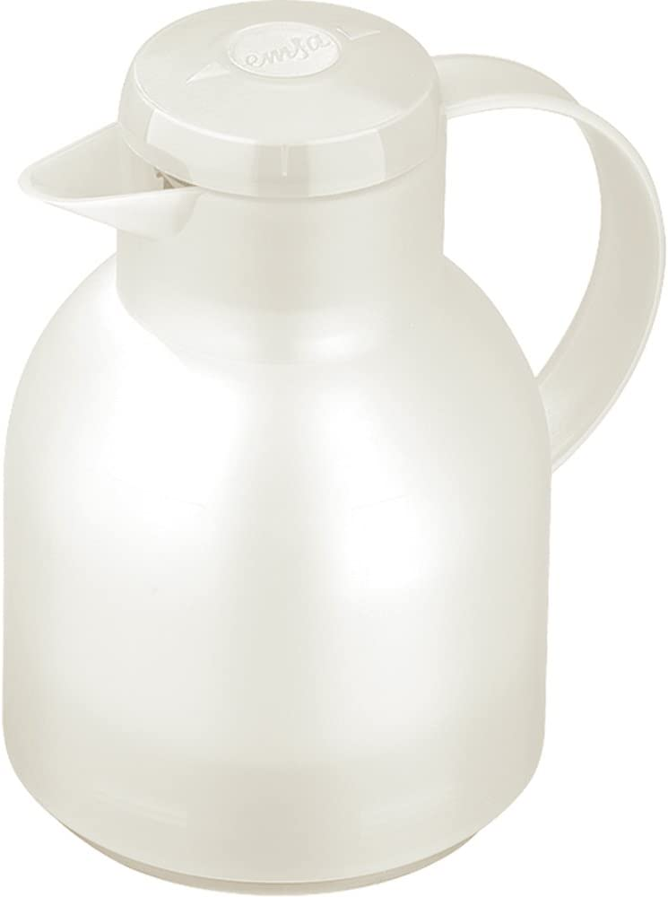 Emsa Samba, Quick Press, Vacuum Insulated Thermal Carafe, 34 oz, Translucent White