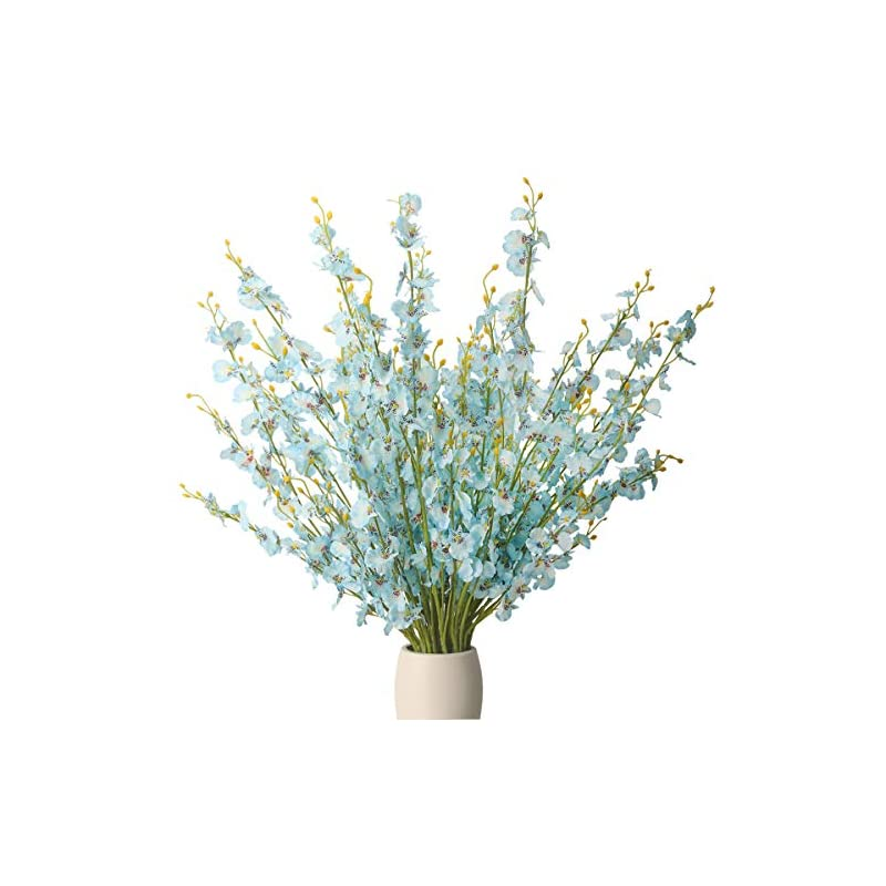 silk flower arrangements bomarolan artificial orchid silk fake flowers faux dancing lady orchids stems flower 10 pcs real touch for wedding home office party hotel yard decoration restaurant patio festive furnishing(blue)