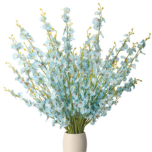 BOMAROLAN Artificial Orchid Silk Fake Flowers Faux Dancing Lady Orchids Stems Flower 10 Pcs Real Touch for Wedding Home Office Party Hotel Yard Decoration Restaurant Patio Festive Furnishing(Blue) (Decoration Flowers For Office)